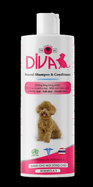 Sữa tắm chó dưỡng lông khử mùi DIVA Hồng 400 ml