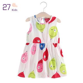 27 Đầm Hoa Vải Cotton Cho Bé Gái, Đầm Xòe Không Tay Thắt Nơ Cho Trẻ Em Đầm Mặc Nhà Mùa Hè Cho Trẻ Sơ Sinh 2-5Y