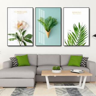 Tranh canvas treo tường có khung cao cấp - Bộ 3 bức tranh vải canvas, tranh tráng gương treo tường phong cảnh bắc âu decor trang trí phòng khách, phòng ngủ sang trọng in 3D nghệ thuật hiện đaị - tặng kèm đinh - hình 1