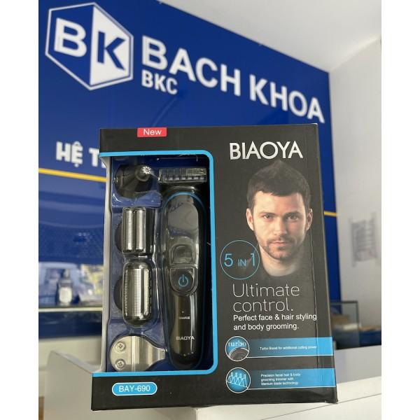 Tông đơ cắt tóc BIAOYA BAY 690 5in1 chuyên dụng kiêm máy cạo râu Chống nước Dễ tạo kiểu không dây tiện lợi giá rẻ