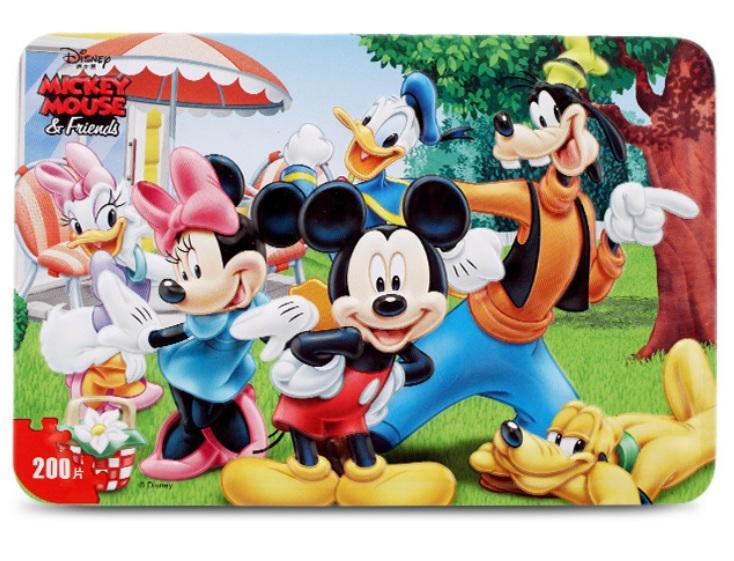 Đồ Chơi Tranh Xếp Hình 200 Miếng Hộp Sắt In Dập Nổi - Ghép Hình Chuột Mickey Siêu Tiết Kiệm