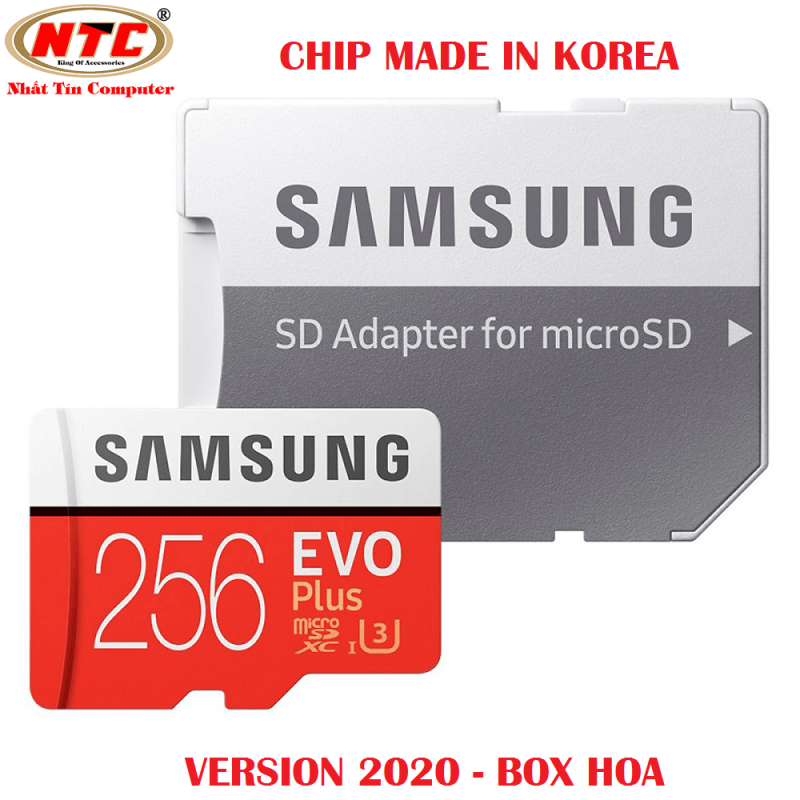Thẻ nhớ MicroSDXC Samsung Evo Plus 256GB U3 4K R100MB/s W90MB/s - box Hoa New 2020 (Đỏ) + Kèm Adapter - Made in Korea