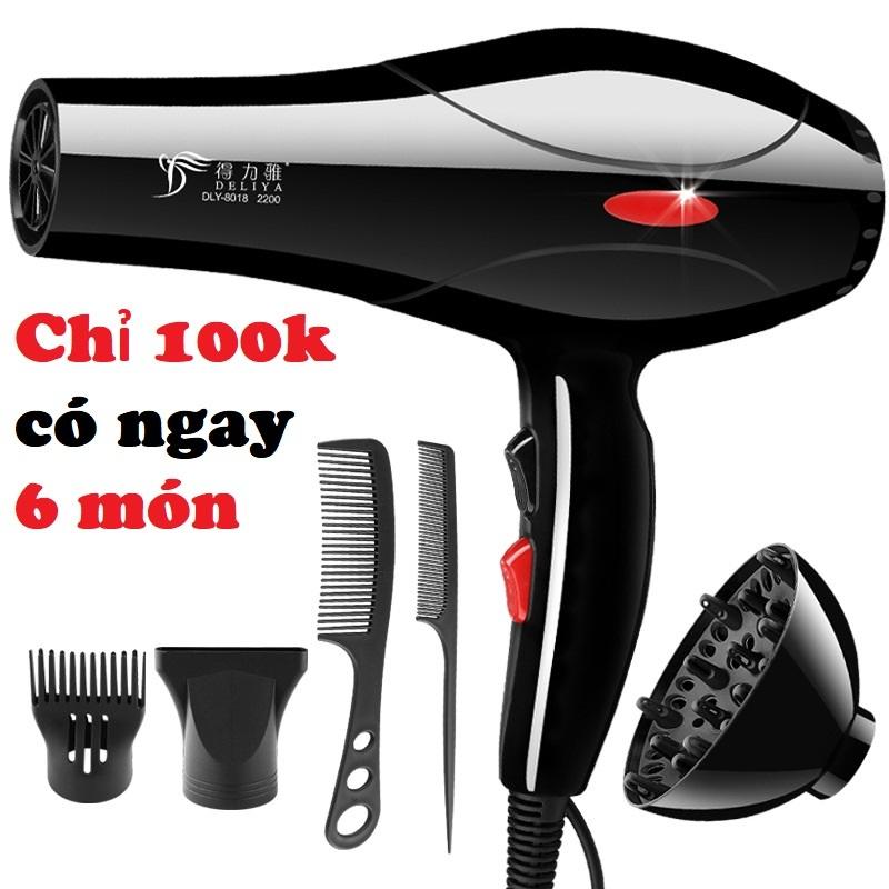 Máy sấy tóc tạo kiểu Deliya công suất lớn 2200W tặng kèm bộ phụ kiện 5 chi tiết