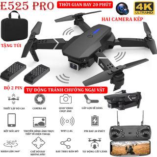 (NEW 2021 - BỘ 2 PIN) - TẶNG TÚI ĐỰNG- Flycam mini E525 PRO 4K hai camera kép, tự động tránh chướng ngại vật ba hướng, thời gian bay 18 phút, có thể zoom, phong to ảnh, chế độ bay không đầu - nhào lộn 360° - BẢO HÀNH 3 THÁNG