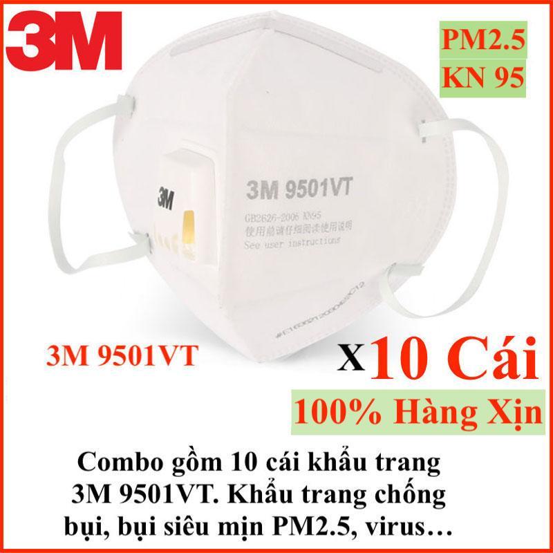 Set gồm 10 cái khẩu trang 3M 9501VT hàng chuẩn xịn 3M chuyên dùng chống bụi, lọc mùi, lọc bụi siêu mịn PM2.5, chống virus, khẩu trang có van lọc bụi vừa cho cả nam và nữ