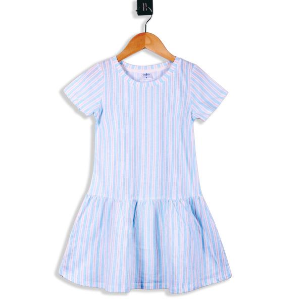 Giá bán Đầm bé gái tay ngắn thun hoa sọc ngang 🔥14 - 22kg🔥Váy bé gái 🔥Size 6-8🔥Váy cho bé gái 3-5 tuổi 100% COTTON HOA - 1571