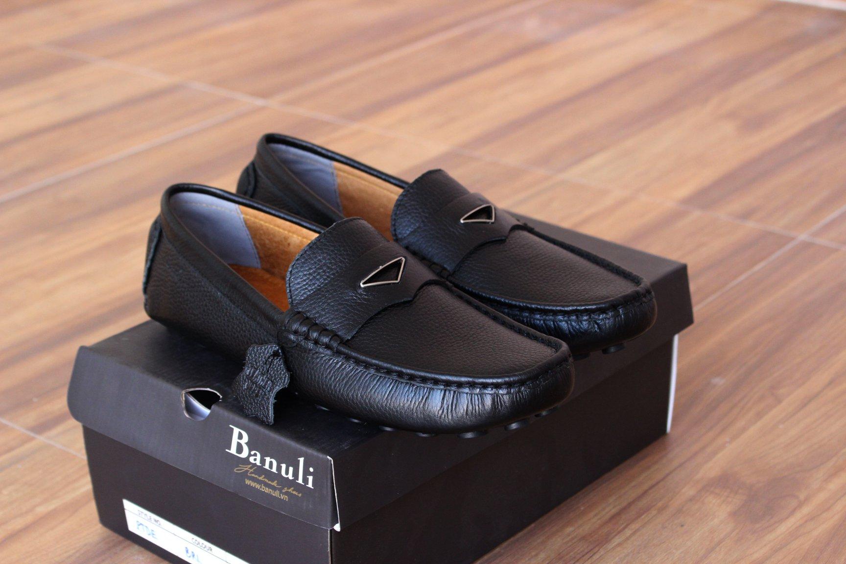 Giày nam cao cấp chính hãng BANULI, kiểu giày lười K1ML1T0 da bò thật đế cao su tự nhiên