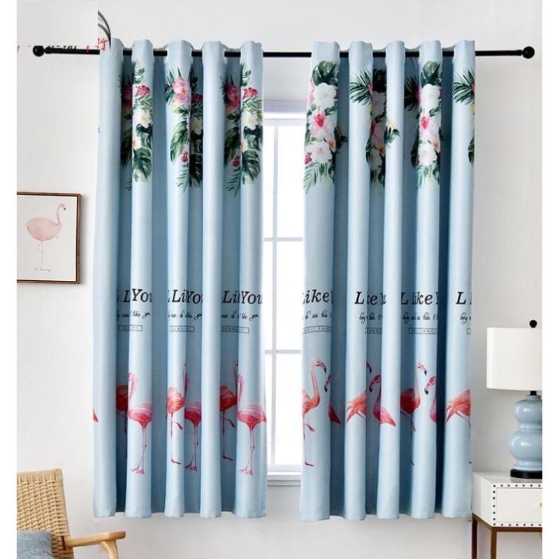 Rèm vải dày cao cấp hạt nền xanh 2m dài 1 tấm