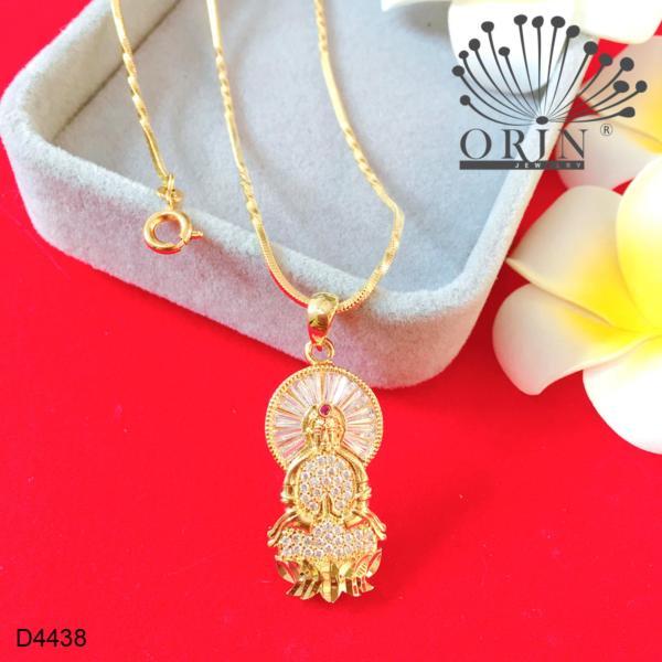 Dây chuyền mạ vàng 24k dạng mì xoắn mặt Phật Quan Âm đính đá thiết kế cao cấp Orin D4438