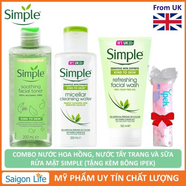 [Tặng bông] Combo Nước Tẩy Trang Simple 200ml, Gel Rửa Mặt Simple 150ml Và Nước Hoa Hồng Simple 200ml