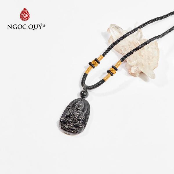 Mặt dây chuyền Phật bản mệnh đá obsidian Đại Thế Chí Bồ Tát tuổi Ngọ 3.6 x 2.3cm (màu đen) - Ngọc Quý Gemstones