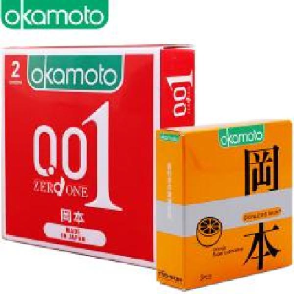 [ Tặng 1 hộp Cam 3 cái ] Bao Cao su Okamoto 0.01 PU Siêu mỏng Truyền Nhiệt Nhanh Hộp 2 Cái nhập khẩu