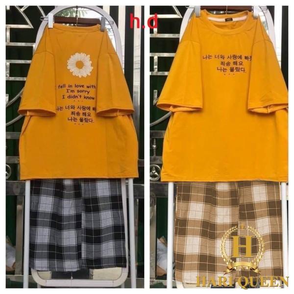 Sét Bộ Đồ Quần Áo Nữ Đẹp Giá Rẻ Mặc Đi Chơi Dạo Phố - Sét áo hoa cúc chữ hàn + quần kẻ DHA0720