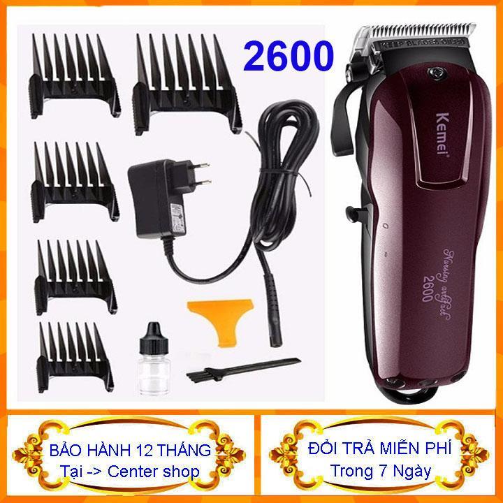 Tông đơ cắt tóc không dây chuyên nghiệp Kemei KM-2600 Tông đơ cắt tóc điện có thể sạc lại với Hướng dẫn lược để tạo kiểu tóc- center shop