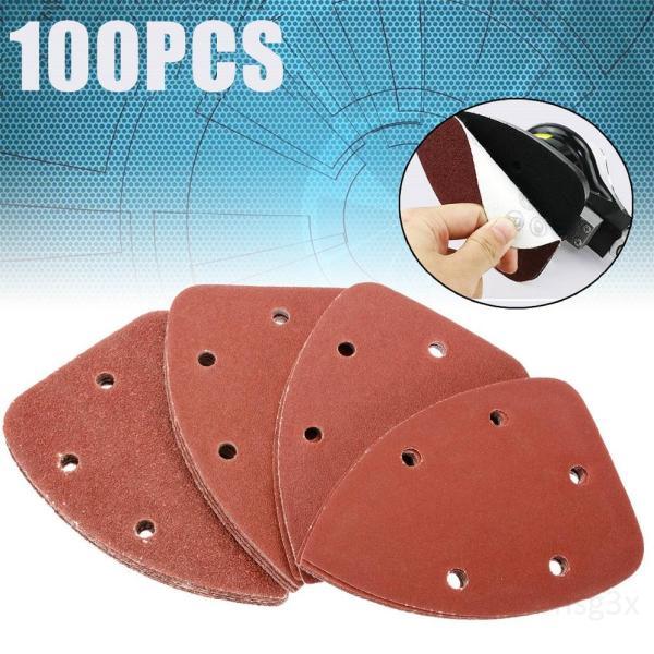 100 chi tiết chuột Sander Sanding hình tam giác đĩa 6 lỗ móc và phát hành nhanhDoUBft4Q