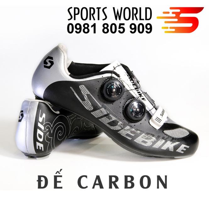 Giày can đạp xe, đế carbon, 2 khóa vặn, dòng Road SD-002 SIDEBIKE màu Đen Bạc giá rẻ