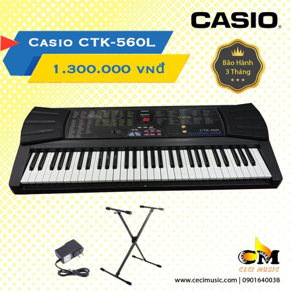 Đàn Organ Casio CTK560L Like new 90%.Hàng nội địa Nhật.  Bảo hành 3 tháng. Tặng kèm chân đàn 150,000đ