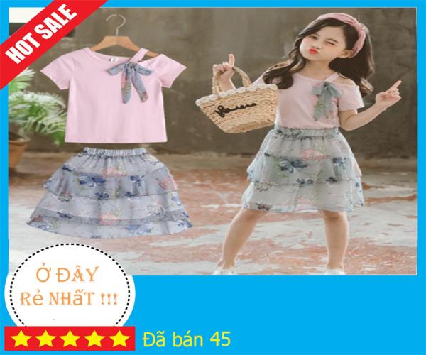 Giá bán Váy bé gái, Set bộ váy áo cho bé gái phong cách Hàn Quốc hàng Quảng Châu loại đẹp