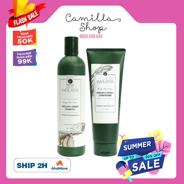 [HCM]Cặp dầu gội xả gừng tem trắng WEILAIYA GINGER SHAMPOO & CONDITIONER giúp giảm rụng tóc kích thích mọc tóc nhanh