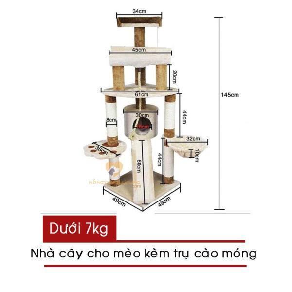 Cat Tree - Nhà Cây Cho Mèo Kèm Trụ Cào Móng - Mã LZ0144 - Giao màu ngẫu nhiên - [Nông Trại Thú Cưng]