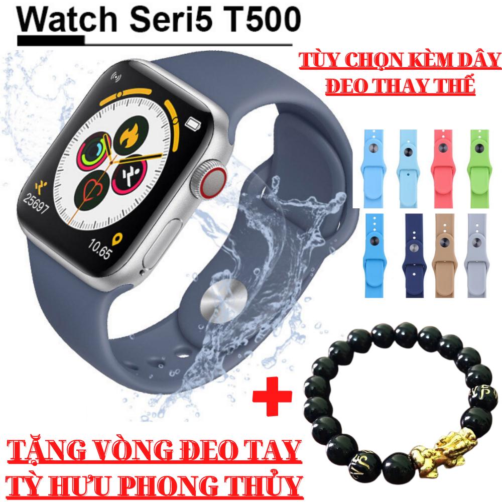 [TẶNG VÒNG ĐEO TAY TỲ HƯU] Đồng Hồ Thông Minh T500 Smart Watch Seri 5 T500 - Thay được hình nền từ điện thoại-Thiết kế thời thượng,thông minh - Chống nước - Gọi điện, nghe nhạc trực tiếp -Thông báo tin nhắn -Tiếng Việt 100%