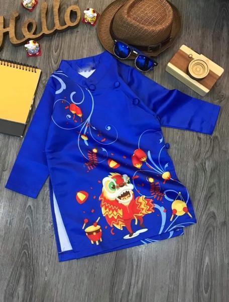 Áo dài cách tân cho bé trai bé gái Đón Xuân Dễ Thương, Áo dài Tết mẫu mới hottrend hình múa lân cao cấp cho bé từ 9kg đến 35kg (màu đỏ, màu vàng,màu xanh) Shop Tân Thời Đại