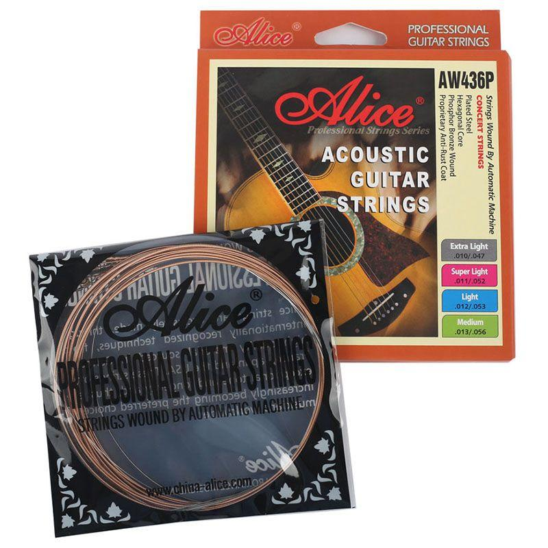 Alice High End Professional Acoustic Guitar Strings Set Contains 6 Light AW436P-SL Model Bronze Guitar Accessories