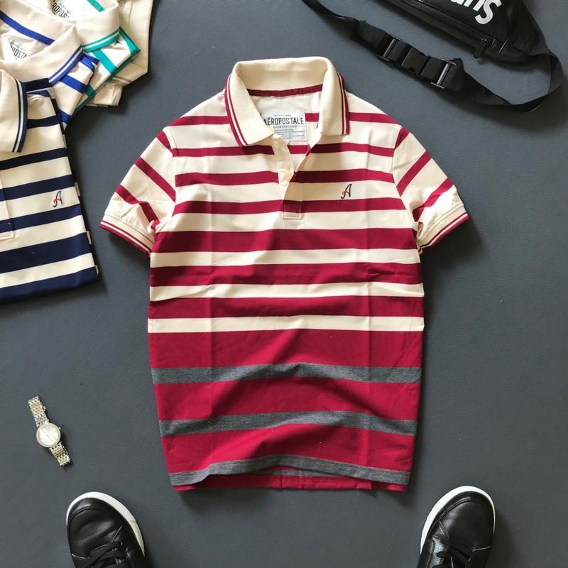 Áo thun nam có cổ chữ A thiết kế sọc ngang cao cấp, áo thun phông thời trang nam form suông TDTATCS3070 - LIYORSHOP