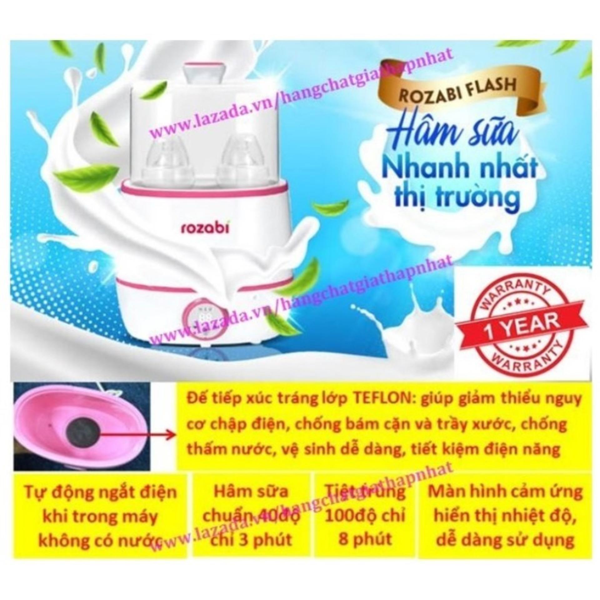 Máy hâm sữa tiệt trùng siêu tốc cao cấp Rozabi Flash 500W HB-055E (Tốt và rẻ so với: Fatzbaby FB3003SL - FB3002SL - FB3012SL Avent Babymoov Kenjo Kuku Beurer Chicco Farlin Medela Dr Brown Nuk Gluck) (Hot)