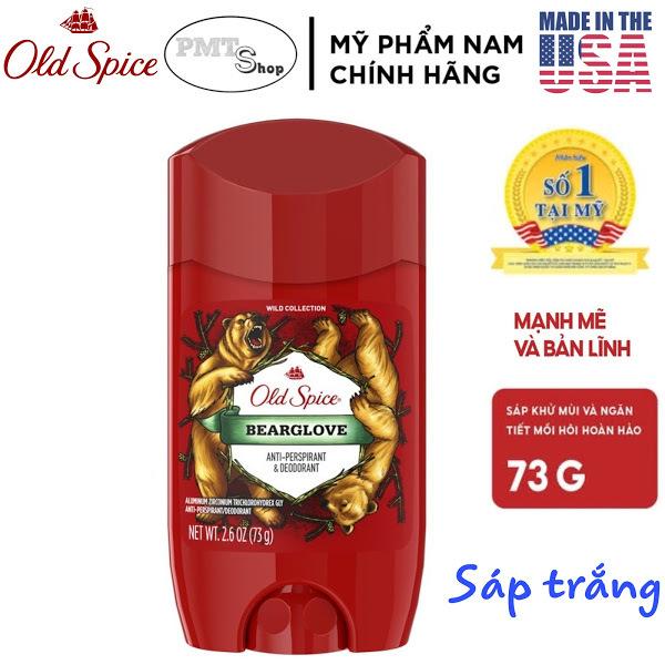 [USA] Lăn sáp khử mùi nam Old Spice Bearglove 73g (sáp trắng) ngăn mồ hôi Wild Collection - Mỹ