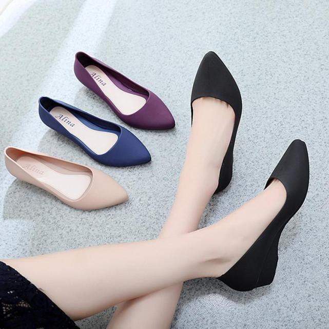 Giày nhựa đi mưa nữ 3p, giày búp bê giày công sở có khả năng chịu nước, chống trơn trượt size 36 đến 40 mẫu V158 giá rẻ