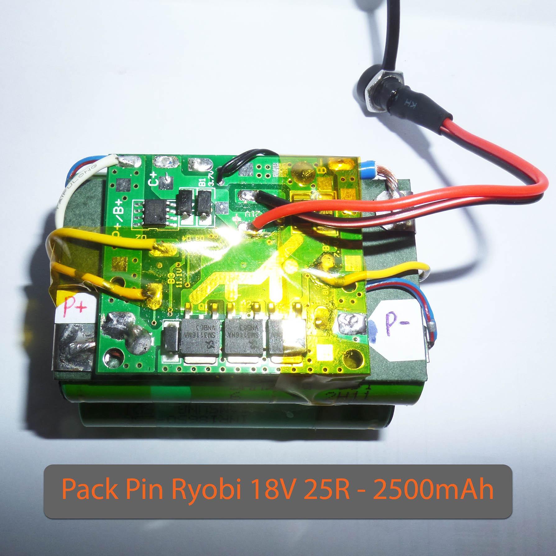 Pack PIN RYOBI 18V Samsung 25R - dung lượng 2.5AH - Dòng xả 20A - Mạch bảo vệ và sạc cân bằng Makita 30A.