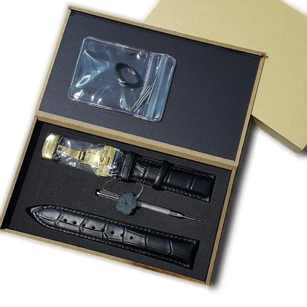 Dây đồng hồ da bò dập vân cá sấu size 18mm 20mm 22mm 24mm, hộp gỗ tặng kèm phụ kiện D1809 bán chạy