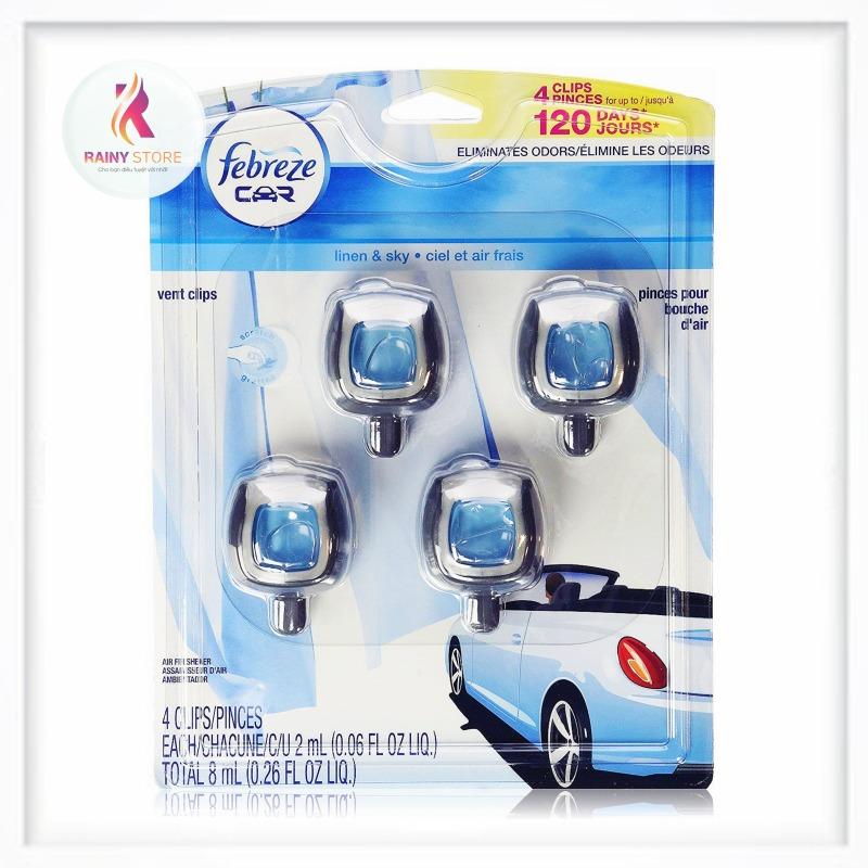 Nước hoa xe hơi Febreze Car Linen & Sky set 4 cái 4x2ml