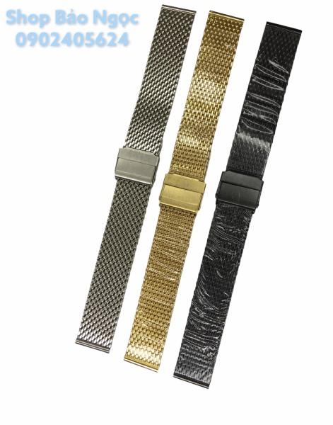 Dây đồng hồ lưới mắt to màu trắng, đen, vàng đủ các size 18-20-22mm (LMT) bán chạy