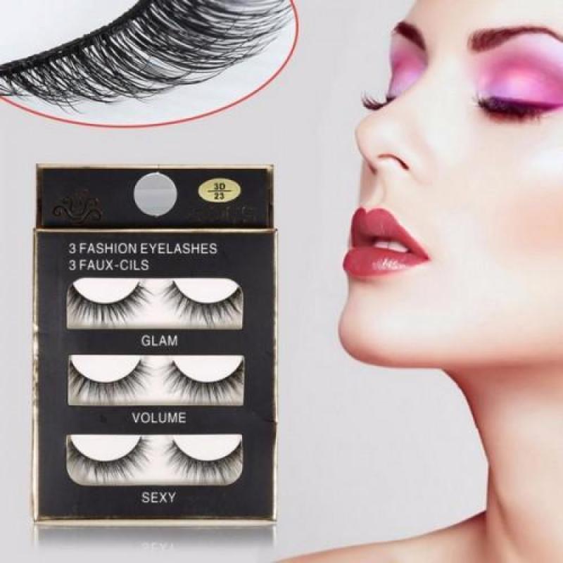 Lông Mi Giả Lông Chồn 3D 3PCS 3 Fashion Eyelashes 3 Faux-Cils ( bộ 3 cặp ), mi chồn nhập khẩu