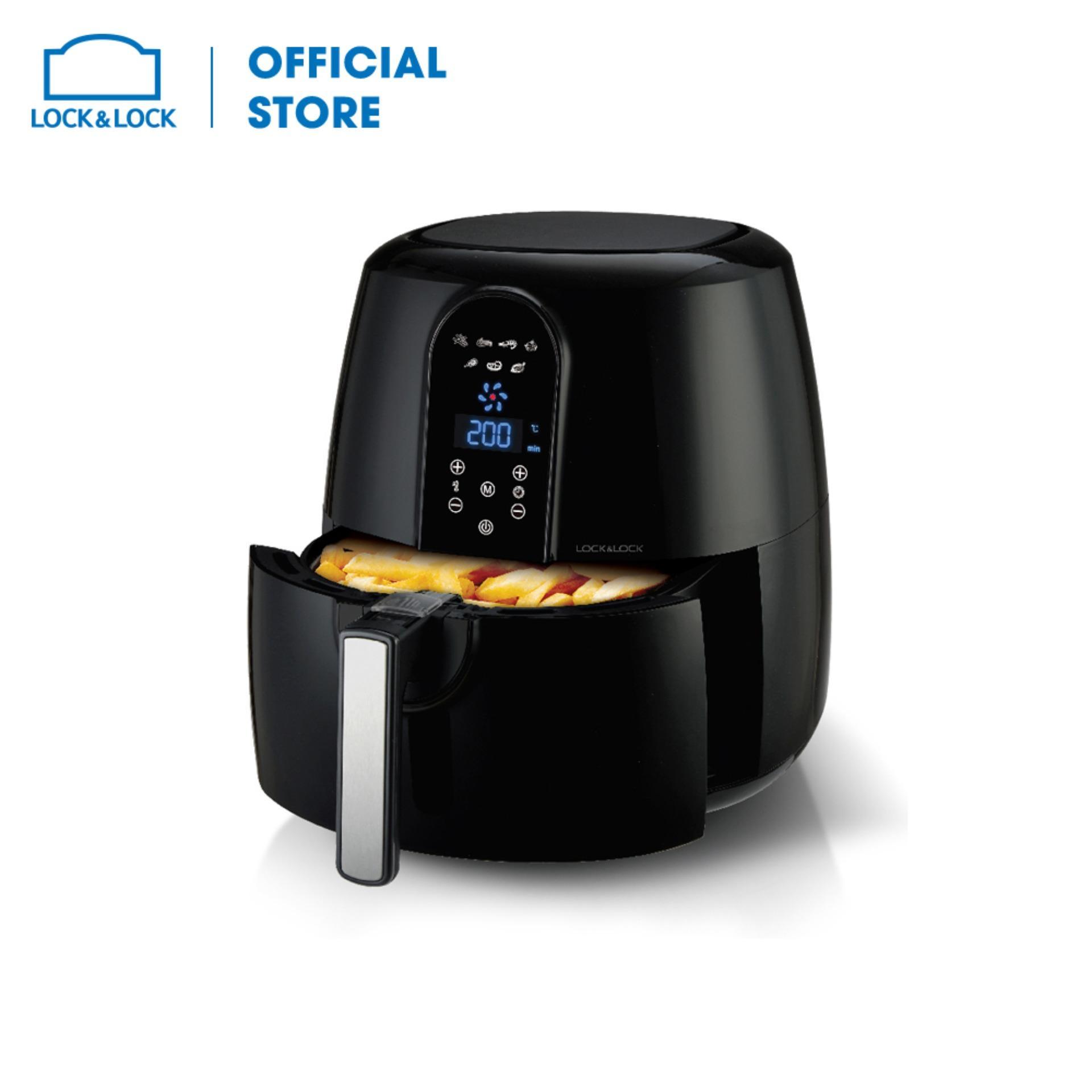 [5.2L BIG SIZE] Nồi chiên không dầu Lock&Lock Jumbo Digital Eco Fryer EJF351 - 5.2L. Thiết kế độc đáo, cấu hình làm nóng tối ưu - Công suất 1800W - Bảo hành 12 tháng - Hàng chính hãng