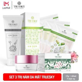 Bộ sản phẩm làm mờ nám da mặt Truesky V05 gồm 1 kem nám da 8g và một sữa rửa mặt nha đam 60ml + 3 miếng mặt nạ tế bào gốc Truesky thumbnail