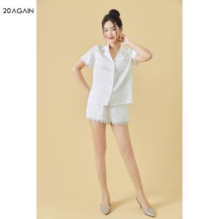 Bộ pyjama đùi phối ren 20AGAIN, chất lụa cao cấp, thoáng mát NNA2062 thumbnail