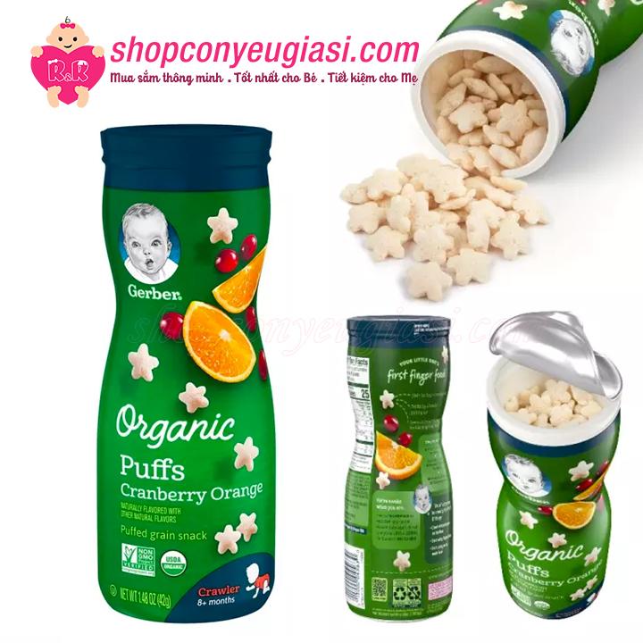 Bánh Ăn Dặm Gerber Organic Puffs 42g/Hộp - Vị Cam-Nam Việt Quất