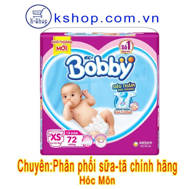Mã Coupon Tã Dán Sơ Sinh Bobby XS72 Miếng Cho Bé 5KG + TẶNG 8 MIẾNG TÃ QUẦN S