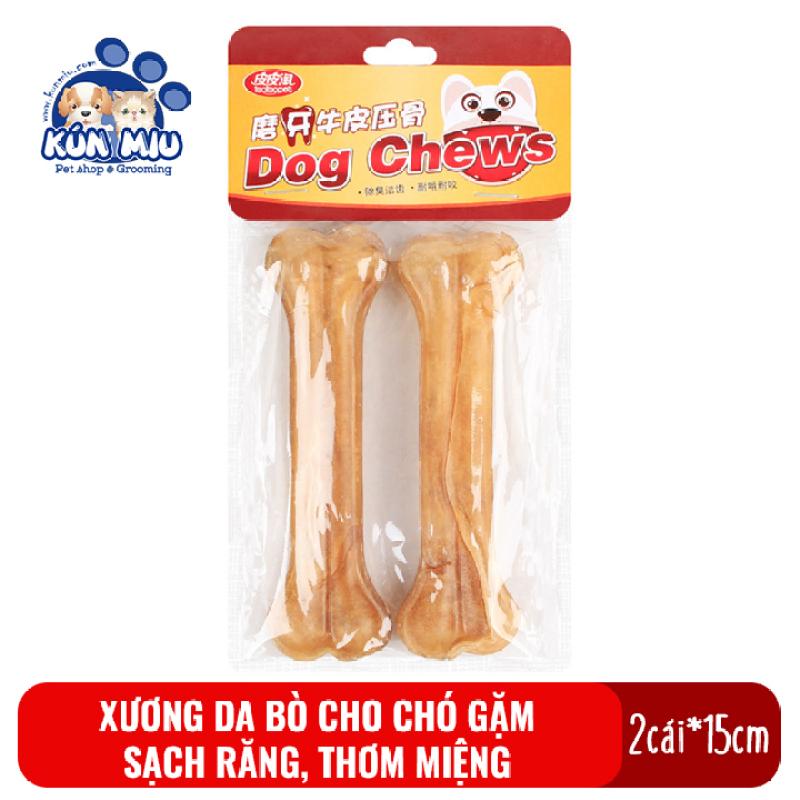 Xương da bò Kún Miu cho chó gặm sạch răng, khử mùi hôi miệng gói 2 chiếc 15cm