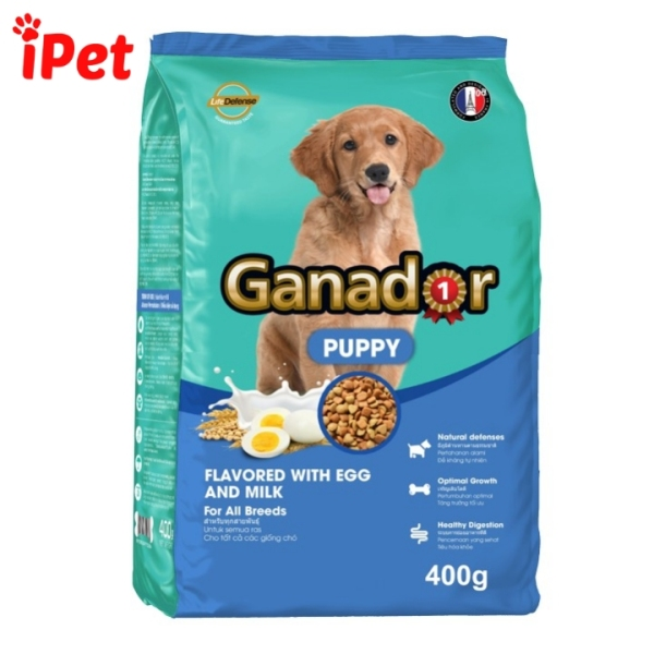 Thức Ăn Hạt Khô Giàu Dinh Dưỡng Cho Chó Con Ganador Puppy 400g Vị Sữa Và DHA - iPet Shop