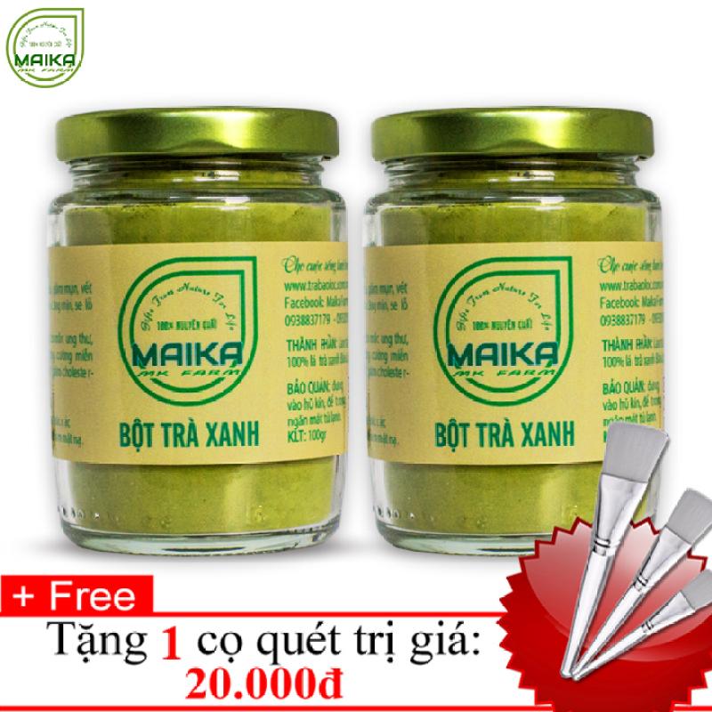 Combo 2 Bột Trà Xanh Nguyên Chất MK Farm (100g/hũ) + Tặng Cọ Quét giá rẻ
