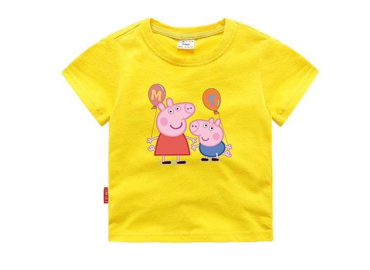 áo thun bé trai- bé gái cotton xịn in hình heo pappa (  có size người lớn kỷ hợi- 2019)