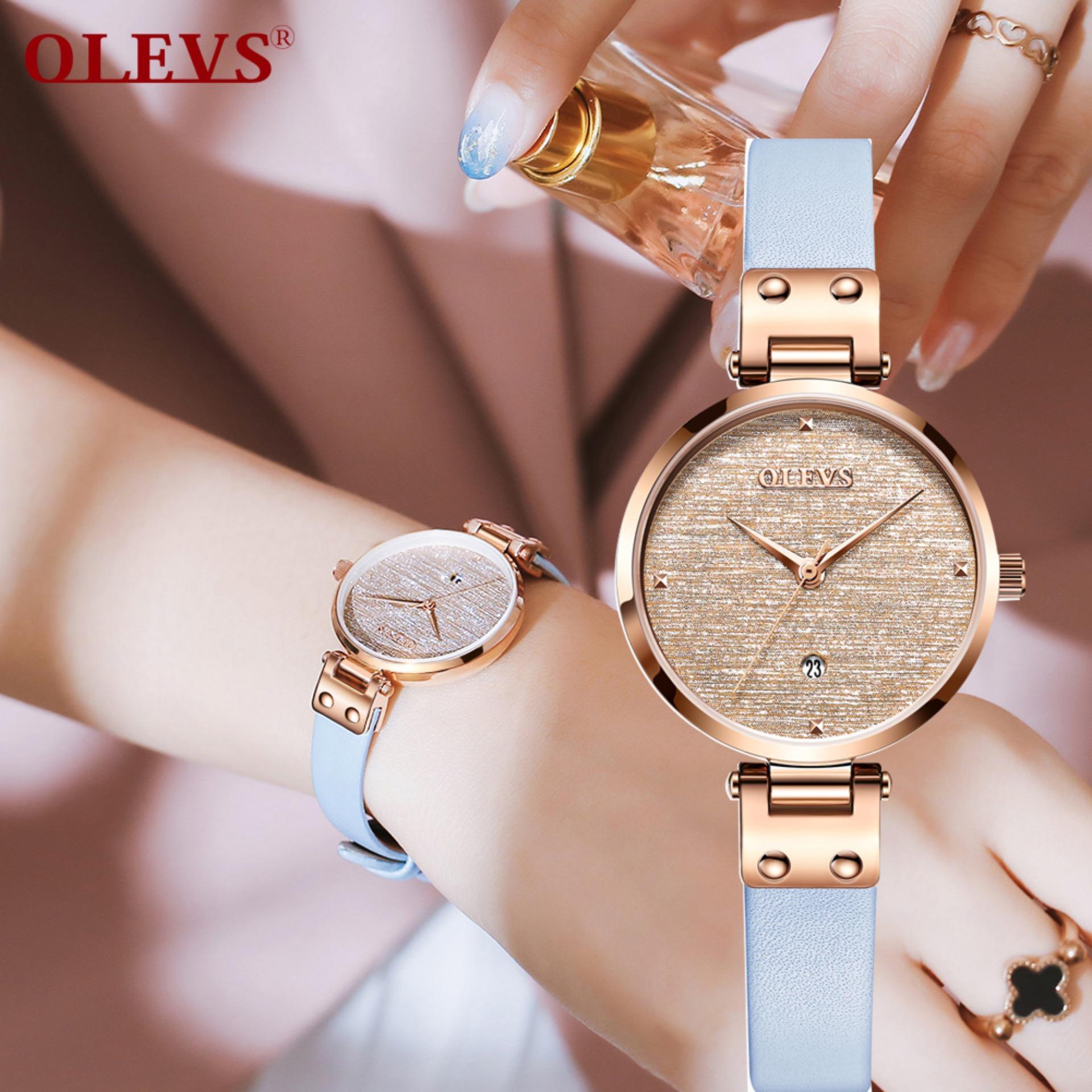 Nơi bán OLEVS Nữ Đồng hồ Đơn Giản thạch anh Sáng sang trọng thời trang đồng hồ nữ 2019 mới ban đầu xác thực Thương hiệu Hoa Hồng vàng đồng hồ chống nước nhật Bản phong trào