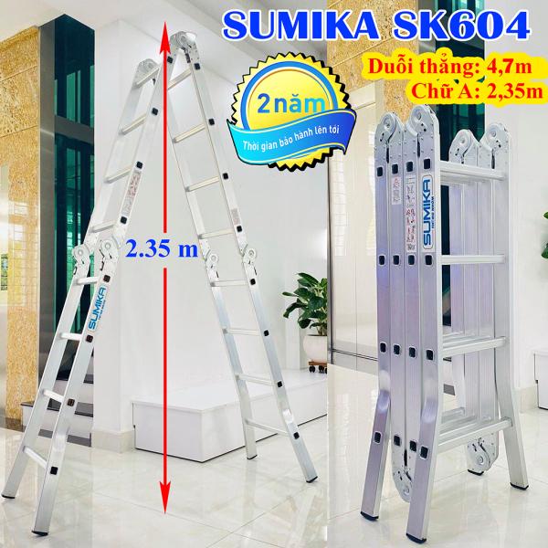 Thang nhôm gấp 4 đoạn Sumika SK604 - Chữ A 2,35m duỗi hẳng 4,7m, Công nghệ dập của Đức, Tải trọng 300 kg, Độ dày của nhôm 1.5mm Trang bị: Đế cao su chống trơn trượt