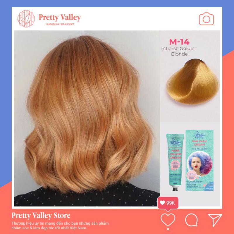 Kem nhuộm tóc cao cấp màu vàng hoe Molokai 60ml [ TẶNG KÈM GĂNG TAY + CHAI OXY TRỢ DƯỠNG TÓC ] nhập khẩu