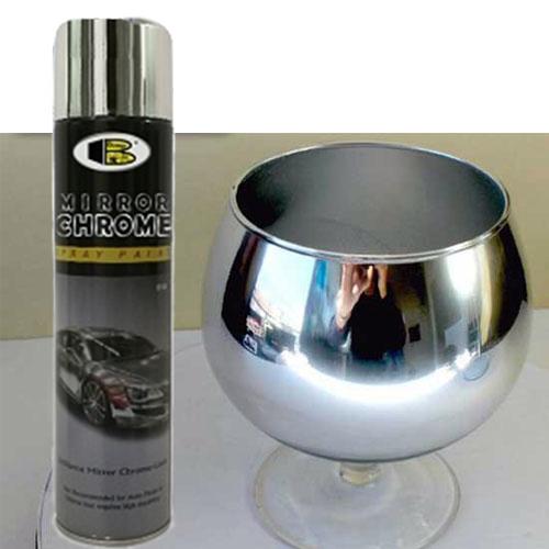 Sơn xịt mạ inox Mirror Chrome B123 hiệu Bosny - inox sáng bóng có hiệu ứng gương soi - Nhập khẩu Thái Lan