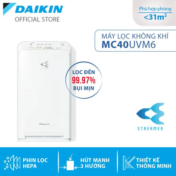 Máy Lọc không khí Daikin MC40UVM6 - Phù hợp phòng 31m2 - Công nghê Streamer độc quyền - Phin lọc tĩnh điện Hepa - Hút gió 3 hướng - Vận hành êm ái - Thiết kế nhỏ gọn - Hàng chính hãng